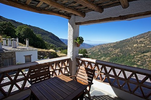 spectacular views from the terrace of our holiday apartment in Bubión, Alpujarras, Spain